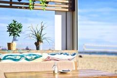 Café de plage à Barcelone Platja Nova Icaria ou Barceloneta Photos stock