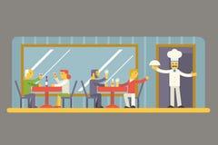 Café del restaurante con los caracteres del cocinero y de los visitantes Imagen de archivo libre de regalías