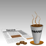 Café e jornal Fotografia de Stock Royalty Free