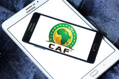 Caf logo. Logo of caf, the confederation of african football on samsung mobile phone on samsung tablet Stock Photos