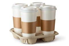 Café para llevar cuatro en sostenedor Imagenes de archivo