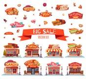 Café, restaurant, boutique de glace, pizzeria et boulangerie Ensemble de vecteur Illustration Photos stock