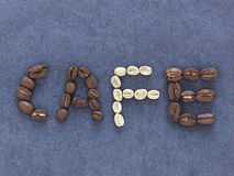 Caf   written with coffee beans Royalty Free Stock Image