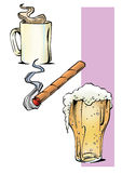 Café y cigarrillo del alcohol Imagen de archivo