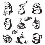 Café y té en un fondo blanco Iconos Imagenes de archivo