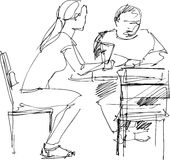 Cafe. The black-and-white image of the guy and the girl in cafe Royalty Free Illustration