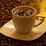 CAFE. A fresh white cup of coffee and beans Stock Photography