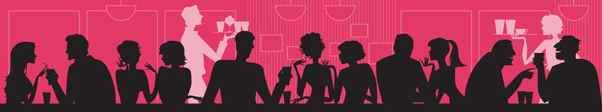 At cafe. Vector silhouettes of people at cafe stock illustration