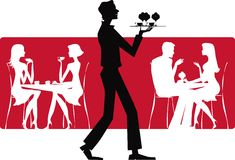 Cafe. Silhouettes of people and a waiter in cafe Vector Illustration