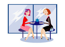 At the cafe. Vector image of two girls at the cafe Stock Photo