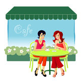 At The Cafe. An illustration of two female friends catching up over drinks at a cafe stock illustration