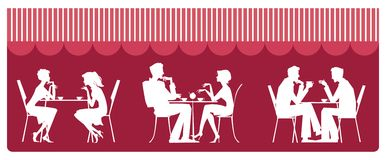 At cafe. Silhouettes of people sitting near table and talking Vector Illustration