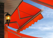 Cafe. With awning and lamp Stock Photo