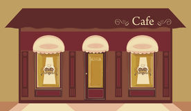 Cafe. Store window with Heart coffee logo vector illustration stock illustration