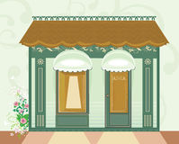 Cafe. Store window with  copy space vector illustration Stock Photography