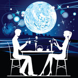 Cafe. Silhouette of the couple in the cafe. All elements and textures are individual objects. Vector illustration scale to any size Stock Images