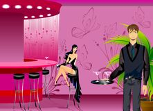 In cafe. Beautiful girl and man in cafe Stock Illustration