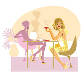 In cafe. Vector illustration of a woman in cafe Stock Photography