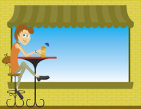Cafe. Illustration of a lady sitting at an sidewalk cafe Stock Photo