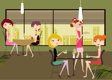 At the cafe. Vector image of  girls at the cafe Royalty Free Stock Images
