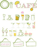 Cafe. A collection of cafe icons including many drink options Stock Image
