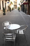 Cafe accessory. Into quiet small street Royalty Free Stock Images