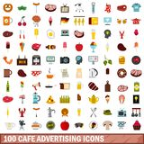 100 cafe advertising icons set, flat style. 100 cafe advertising icons set in flat style for any design vector illustration Royalty Free Illustration