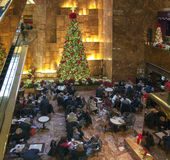 Cafe area at Christmas time Trump tower in NYC Royalty Free Stock Photography