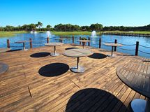 Cafe on the artificial pond Royalty Free Stock Photography