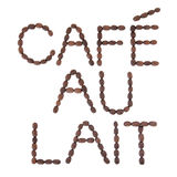 Cafe au Lait Sign. Cafe au lait coffee sign in word and letter form over white background Royalty Free Stock Photos