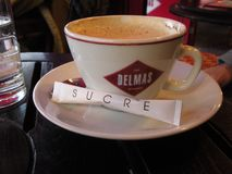 Coffee and Sugar in a French Cafe, Paris, France stock photos