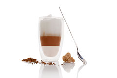 Cafe au lait. Cafe au lait on white background. Culinary cafe au lait Stock Image