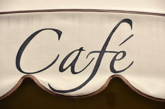 Cafe awning. In Pisa, Italy stock image