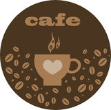 Cafe background brown. Abstract cafe background with cup of coffee,brown background Stock Image