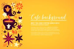 Cafe background template with floral and abstract elements. Can be used for advertising and web design. Cafe background template with floral and abstract Royalty Free Stock Photography