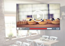 Cafe Baking cakes video player App Interface Stock Photo