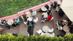 Cafe on the Balcony. View from above stock video