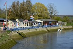 Cafe on banks of River Arun. Arundel. England Stock Image
