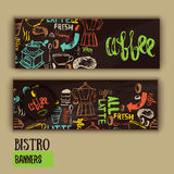 Cafe banner template design with lettering for coffee shop. Stock Photography
