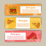 Cafe banners with hand drawn design. Fast food restaurant menu template. Set of cards for corporate identity. Vector illustration. Stock Images
