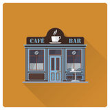 Cafe and bar building flat design vector illustration Royalty Free Stock Image