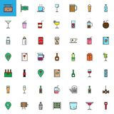 Cafe, bar drinks and beverages filled outline icons set. Colorful vector symbol collection, pictogram pack. Signs, logo illustration. Set includes icons as Stock Photography
