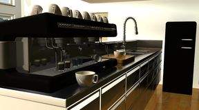Free Cafe Bar Interior And Espresso Machine Royalty Free Stock Images - 15584999