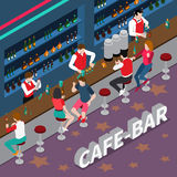 Cafe Bar Isometric Composition Royalty Free Stock Photos