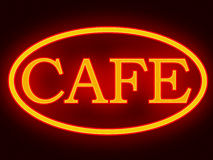 Cafe Bar Night Neon Sign Royalty Free Stock Photos