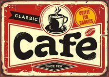 Cafe bar retro tin sign Royalty Free Stock Photos