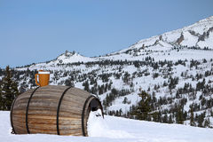 Cafe-barrel at the ski resort. Sheregesh Stock Images