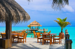 Cafe on the beach royalty free stock photos