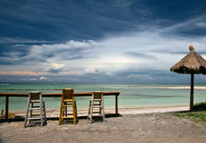 Cafe on the beach. Cafe on the tropical beach Royalty Free Stock Photography