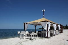 Cafe is on the beach. Summer cafe is on the beach Stock Photography